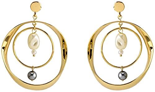 JIAJBG Damas Pendientes de Perlas Artificiales Pendientes de Metal Pendientes Pendientes Redondos Pendientes Geométricos Joyería para Fiestas Compras Decoraciones