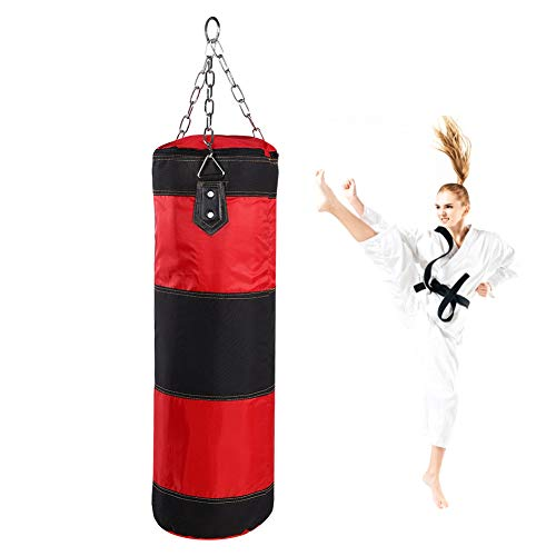 Akozon Boxsack, 12 kg, für Anfänger, Fitness, Sandsack, Training, Powerbag mit Kette, Handgelenkschutz, Handschuhe (12 kg)