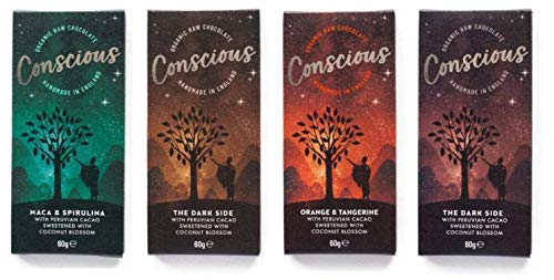 Conscious Chocolate - Dark and Smooth Collection - Vegan Organic Peruvian Cacao - 4 x 60g Bars