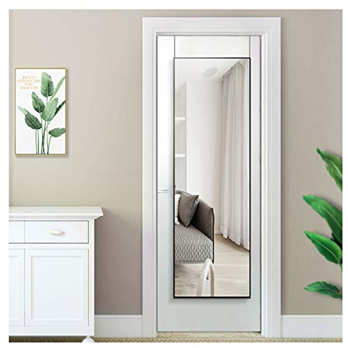 "Beauty4U Full Length Mirror with Hanging Hooks for Door, Wall Mounted Decoration Dressing Mirror, Black, 50"" x 14"""
