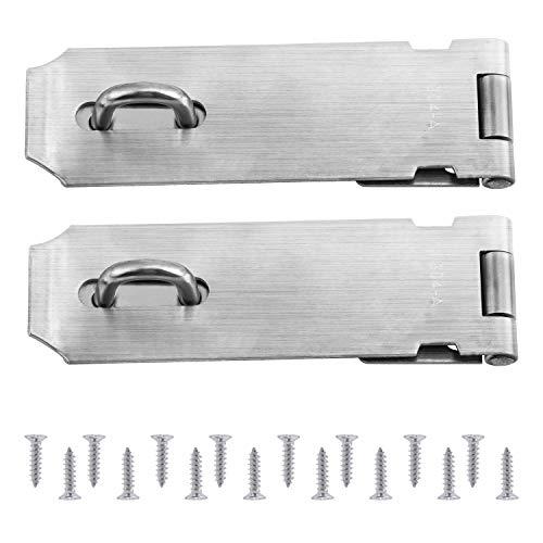 WiMas 2PCS Sicherheits Überfalle, Türschloss Hasp/Türverschluss Türverriegelung mit 16PCS Schrauben, Edelstahl Fertig, 5 Zoll