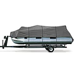 Marine-Grade 600 Denier Heavy Duty Pontoon Cover Quick Release Strapping System for Fast/Easy Installation and Trailering Heavy Duty Shock Cord Hem Provides a Secure Fit 4-Layer Reinforced Front and Back Corners for Extra Durability Fits: 25ft to 28f...