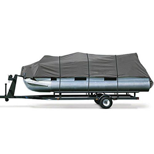 North East Harbor Heavy Duty Waterproof Gray Pontoon Cover Fits Length 25' 26' 27' 28' - Beam Width...