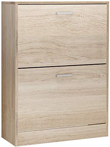 Gabinete de zapatos para zapatos de madera con 2 fijadores, pasillos de entrada separadores ajustables y desmontables,Wood color