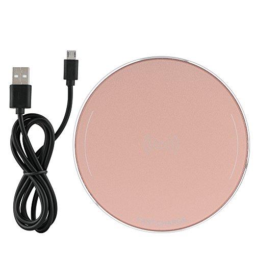 Ladieshow Wireless-Schnellladegerät, 10-W-Überhitzung und Kurzschlussschutz Funktionen Wireless-Ladekissen, geeignet für Geräte mit integriertem Wireless-Ladeempfänger(Roségold)