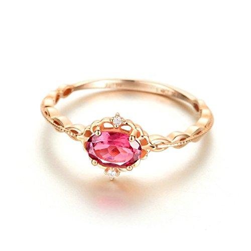 KNSAM - Damen-Ring 18K Gold Solitärring Rubin Echt Diamant 0.5 Karat Verlobungsringe Eheringe für Frauen Größe 55 (17.5)