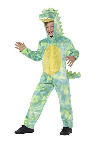 Smiffys-48353L Disfraz de Dinosaurio Deluxe, Mono con Capucha, Color Verde, L-Edad 10-12 años (SmiffyS 48353L)