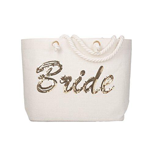 Elegantpark BRIDE Pailetten Baut Tasche Hochzeit Geschenktüten Strandtasche 100% Jute Einkautfstasche mit Baumwollem Griff 54,5 x38 x 15 CM