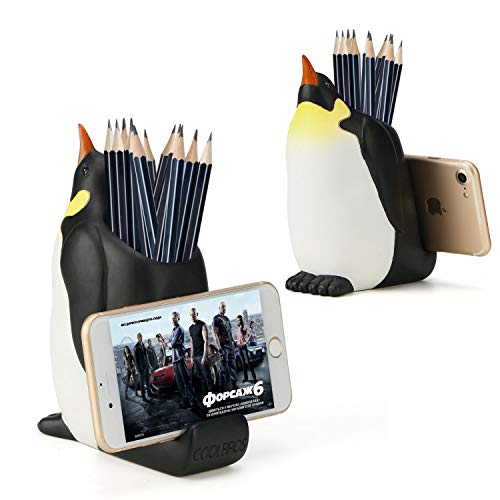 Pen Pencil Holder with Phone Stand, Coolbros Resin Shaped Pen Container Cell Phone Stand Carving Brush Scissor Holder Desk Organizer Decoration for Office Desk Home Decorativ (Penguin)