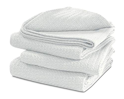 TreeWool 100% Cotton Thermal Blanket - 430 GSM Soft Premium Breathable All-Season Blanket in Basket Weave (King Size - 90' x 108', Ivory)