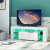 Merax Weiß TV-Ständer, modernes TV-Schrank in Weiß matt und Hochglanz, TV-Regal, Fernsehtisch,...