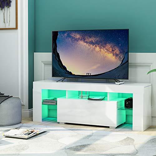TV-Bänk Lowboard 130 x 45 x 35 cm in Hochglanz Weiß mit LED-Beleuchtung Lagerregal Schublade für TV unter 63 Zoll