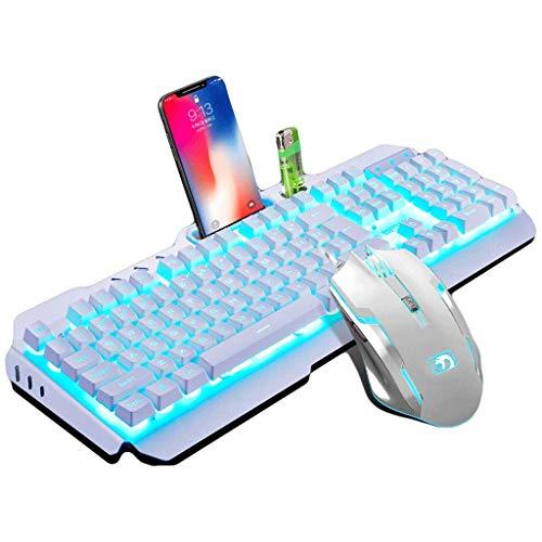 OUKB Teclado mecánico Teclado Atado con Alambre Conjunto de ratón Auriculares E-Sports Juego Internet Cafés Inicio Colorido Retroiluminación Metal (Color : Silver White Mouse Keyboard Set)