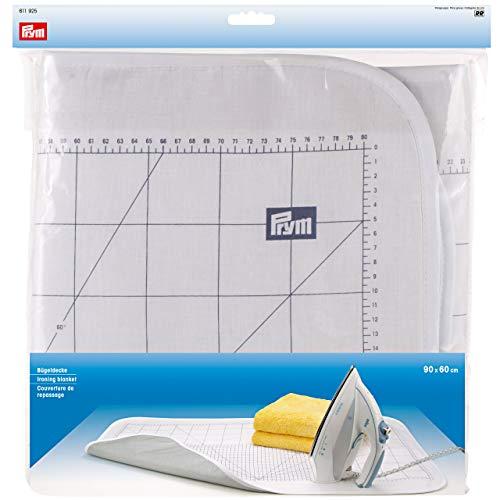 Prym 611925-Bügeldecke, metrisch skaliert und hitzereflektierend, Baumwolle, weiß, 60 x 90 cm