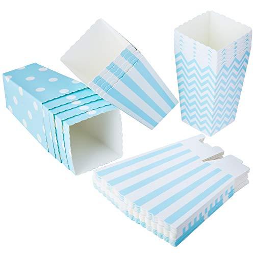 Vordas 36PCS Mini Caja de Fiesta de Palomitas Contenedor de Dulces para Los Bocados del Partido, Los Dulces, Las Palomitas y Los Regalos - Azul