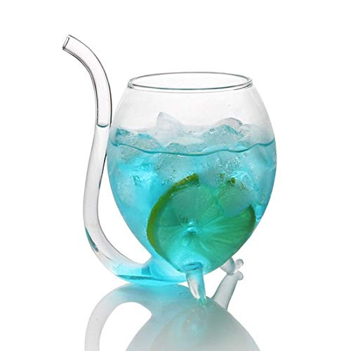 Accesorios de vino Copa de whisky de vino vidrio resistente al calor, taza de leche, taza de té y vino con tubo de beber botella de agua de cóctel (color: 1)