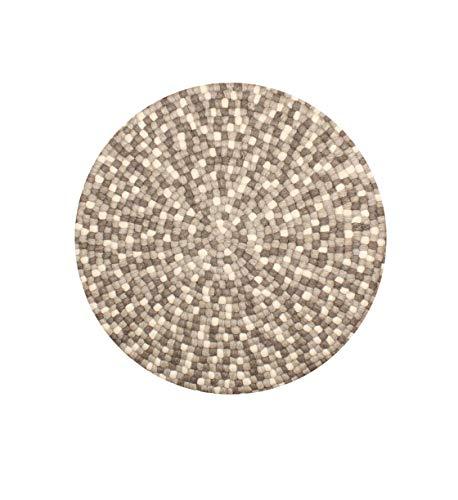 Nimara Isla Teppich rund | Filzkugelteppich aus 100% Wolle | Runder Teppich Ø 160 cm und Ø 90 cm | Wohnzimmerteppich, Kinderzimmerteppich aus Filzkugeln | Runde Teppiche (Braun/Weiß/Grau, 160)