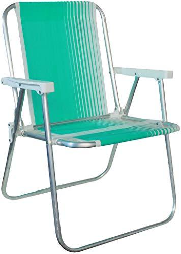 Cadeira De Praia Piscina Varanda Alta Em Alumínio Suporta Até 90kg Verde Água Dobrável Polietileno Lazer Resistente Belfix