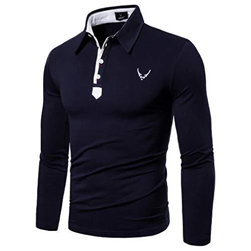 Qinhanjia Herren Casual Fashion Patchwork Polo Golf Langarm T-Shirt Top Bluse, Herren Casual Fashion Patchwork Revers Langarm T-Shirt Top Bluse