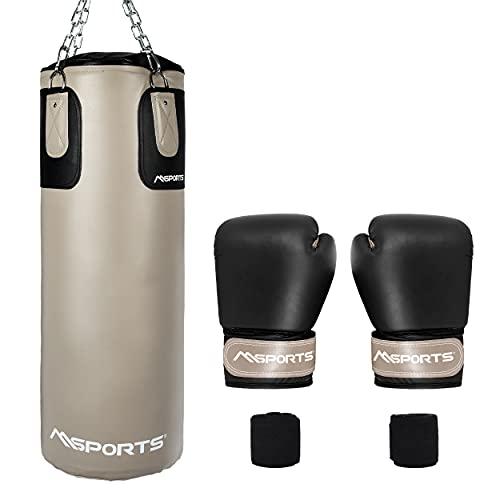 MSPORTS Boxsack-Set Professional 80 x 30 cm, Box-Set mit 1 Paar Boxhandschuhen und Boxbandagen - 25 kg Beige-Schwarz Boxset