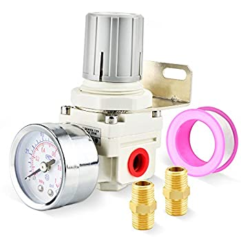 TAILONZ PNEUMATIC 0-145Psi 1/4 Inch NPT Pressure Regulator for Compressed Air Systems AR2000