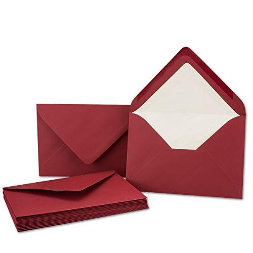 Kuverts in Dunkel-Rot 50 Stück Brief-Umschläge in DIN B6-12,5 x 17,6 cm Geripptes Papier - hochwertiges Seidenfutter für Weihnachten & Festliche Anlässe