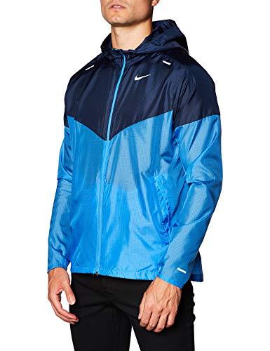Jaqueta masculina casual de corrida Windrunner da Nike Ck6341-402, Pacific Blue/Obsidian/Reflective Silv, Medium