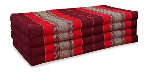 livasia Klappmatratze extrabreit (195cm x 110cm) aus Kapok, Faltbare Gästematratze, klappbare Matratze, asiatische Faltmatratze (pink-rubinrot)