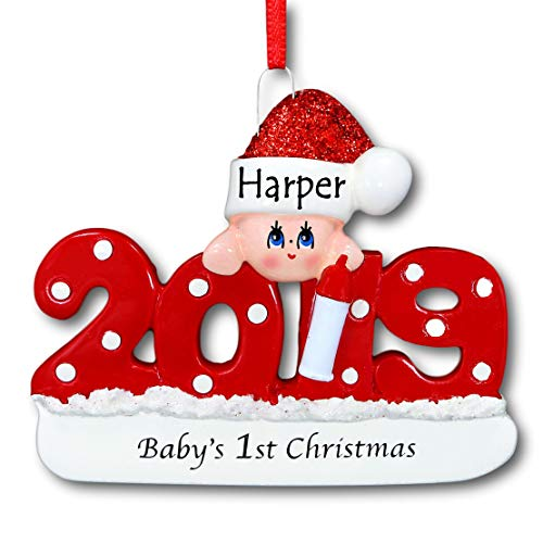 2019 Babys First 1st Christmas Hanging Ornament Red with Polka Dots and Glittered Santa Claus Stocking Hat for Baby Boy or Baby Girl with Free Name Personalization