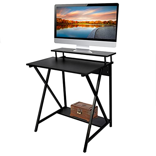 Computer Desk, 2-Tier Gaming PC Table Computer Workstations Student Study Writing Desk for Small Spaces Home Offices Living Room Bedroom, Black