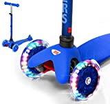 Rugged Racers Dark Blue Kick Scooter for Boys & Girls 3 Wheel Scooter, Kick Scooter for Kids with LED Light PU Wheels, Step Brake, Lean 2 Turn, Ride on Toys for Children 3 Year Plus