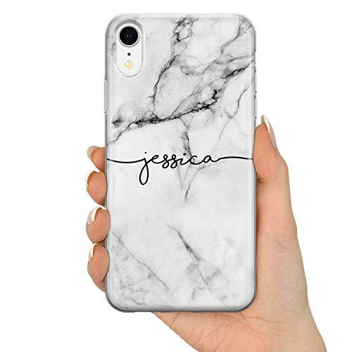 TULLUN Personalisiert Grau Schwarz Marmor Brauch Name Initialen Custom Schutzhülle aus Hartplastik HandyHülle - Grauer Marmor Name V1 - für iPhone 7 Plus / 8 Plus