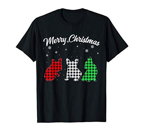 French Bulldog Dog Christmas Plaid Pajama Frenchie Gifts T-Shirt