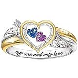 minjiSF Anillo de corazón con diamantes para mujer, anillo