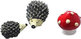 Sungpunet Miniature Garden Fairy Ornament Hedgehog & Mushroom Set