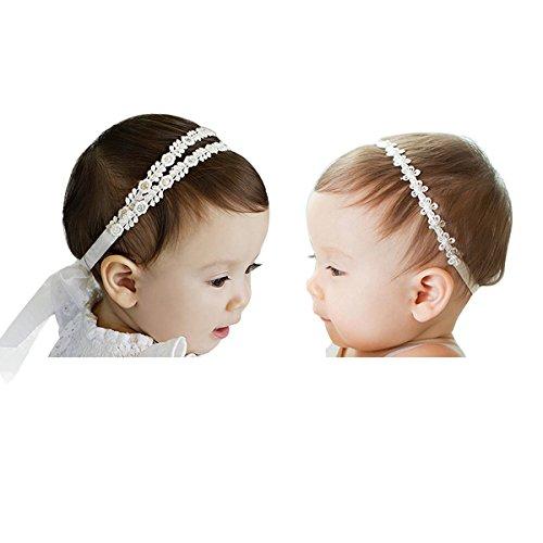Hocaies 2 Stück Baby Kinder Haarband Mädchen Stirnband Kopfband Blumen Blüte Haarschmuck Headband Hairband Babygeschenke Taufe Geschenksets (02)