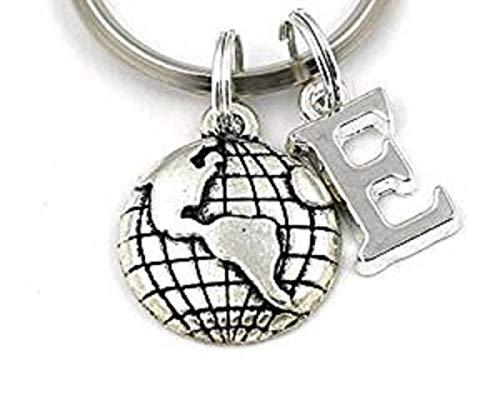 SILVER KNIGHT Globe Key Ring, Personalized Earth Keychain, World Map Keyring Gift Bag