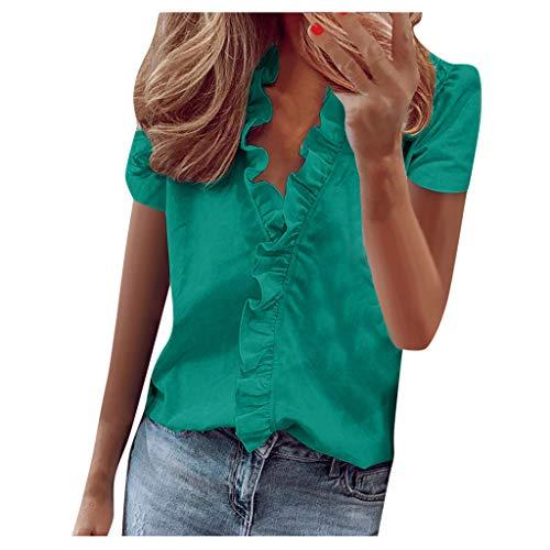 Fcostume Damen Basic Blusen Taillierte Kurzarm Damenbluse Elegante Stretch Hemden V-Ausschnitt Shirt Hemd Casual Bluse Oberteil Hemdbluse Shirtbluse