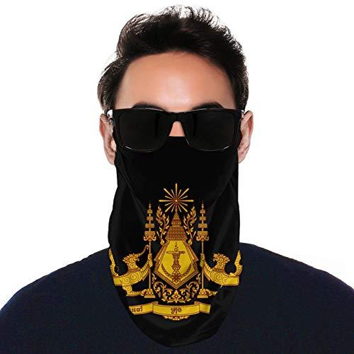 Cambodian Buddha Flag Adult Earloops Neck Scarf Mask Bandana Balaclava Black