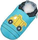Lappade Lederpuschen Hausschuhe Krabbelschuhe Baby Lernlaufschuhe mit Gummisohle Gr.19-31 LKW-Bagger Tuerkis Art.16G