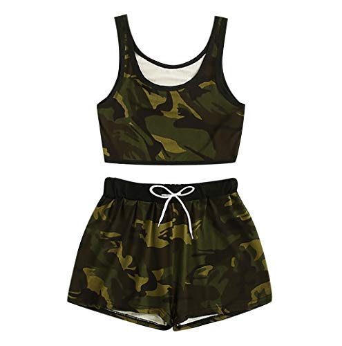 TWBB 2020 Summer Fashion Casual 2-teiliges Outfit für Frauen Camo Print Tank Top mit Kordelzug Shorts Set Damen Anzug Camo Print Top Tank Top Weste