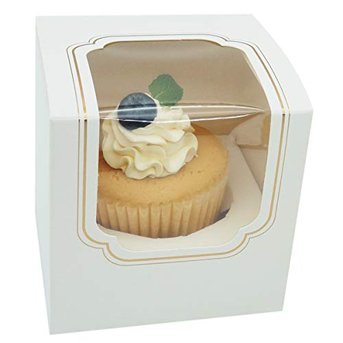 Mini Cupcake Boxes individual White with Insert and Clear Window 50 Pack