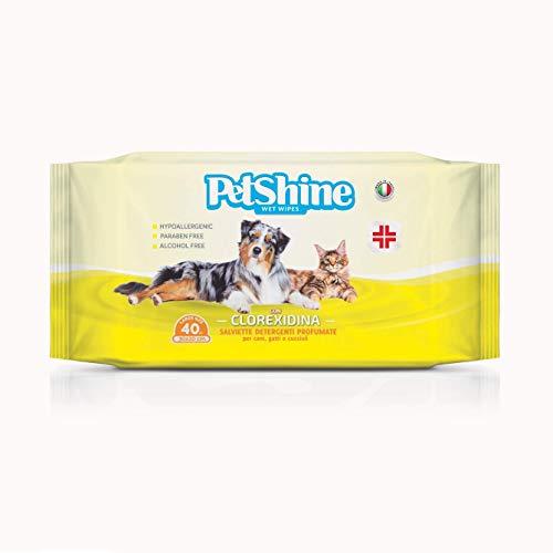 PORRINI Toallitas Higiene para Perro y Gato, Clorexidina, 40 uds, Perro