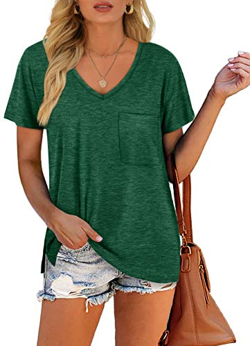 Summer Tops for Women Short Sleeve Pocket V Neck Cute T-Shirt Green S