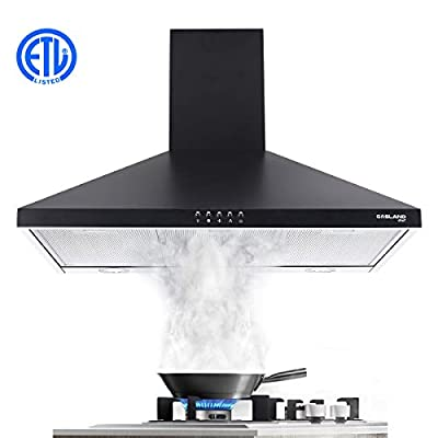 "36"" Wall Mount Range Hood, GASLAND Chef PR36BP 36 Inch Range Hood Black, Ducted Kitchen Exhaust Hood, 3 Speed Convertible Chimney Hood, Push Button Control, Aluminum Mesh Filter, 2 LED Lights, 450 CFM"