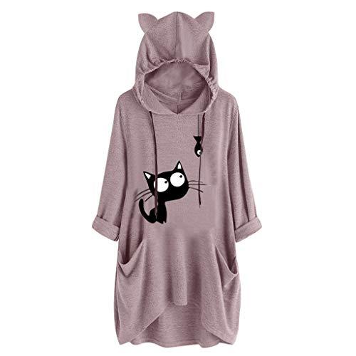 iHENGH Damen Frauen langärmliges Katzenohr Druck beiläufiges mit Kapuze Sweatshirt Pullover Spitzenbluse(Pink, 3XL)