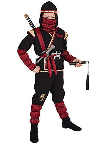 Ninja Kostüm, rot-gold-schwarz - Größe: 104/116 - 152/164 (128/134)