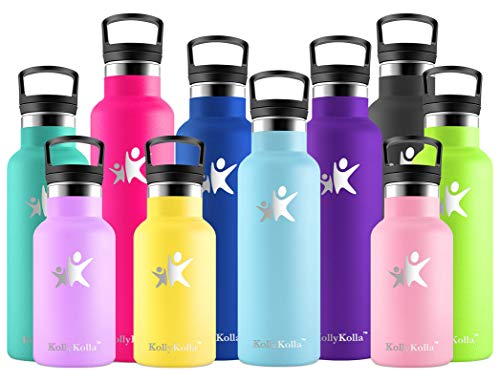 KollyKolla Botella de Agua Acero Inoxidable, Termo Sin BPA Ecológica Reutilizable, Botella Termica con Pajita y Filtro, Water Bottle para Niños & Adultos, Deporte, Oficina, Yoga, (500ml Azul Cielo