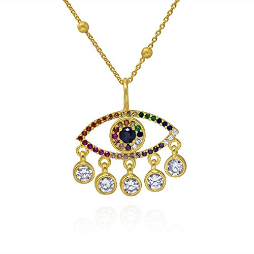 Collar Ojo Turco para Mujer, Chica en Plata de Ley con Baño de Oro y Circonitas de Colores, Colgante Mal de Ojo Amuleto de la Suerte en Caja de Regalo (Oro, Cadena 45 cm)