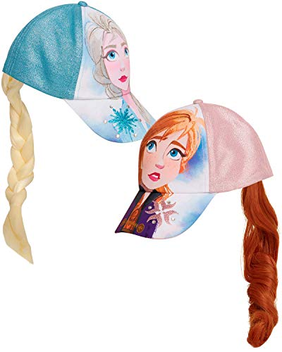 Disney Girls' Frozen Baseball Caps - 2 Pack Elsa and Anna Glitter Hat with Faux Ponytail Set (Ages 4-7), Size Age 4-7, Elsa/Anna Ponytail Cap